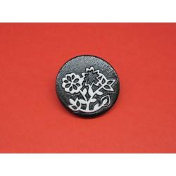 Bouton fleur noir blanc 26mm