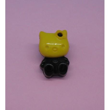 Bouton chat jaune 18mm