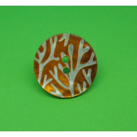 Bouton nacre corail orange 22mm