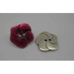 Bouton fleur base véritable argent émaillé fuschia 25mm