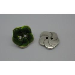 Bouton fleur base véritable argent émaillé vert 20mm
