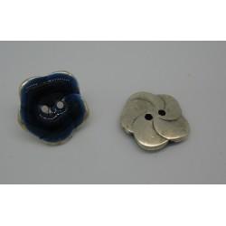 Bouton fleur base véritable argent émaillé bleu 20mm