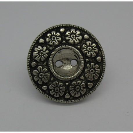 Bouton métallisé 8 fleurs 23mm