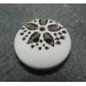 Bouton fleur point blanc noir b50