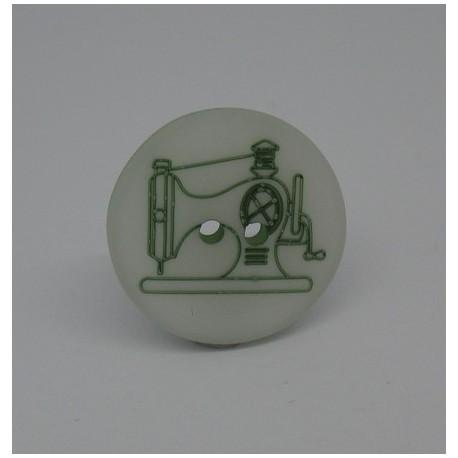 Bouton machine à coudre verte 20mm