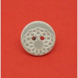 Bouton ellipse émaillé gris amande 18mm