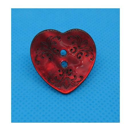 Bouton nacre coeur gravé rouge 25mm