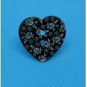 Bouton nacre coeur gravé fleur noir 22mm