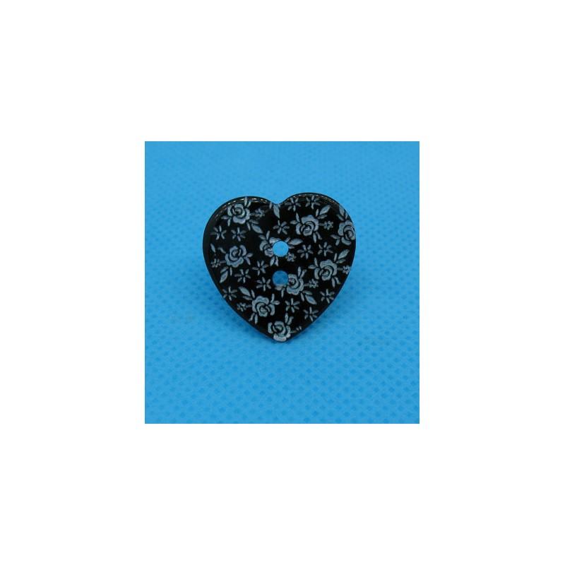 Bouton nacre coeur grav fleur noir 22mm auchtibouton - Fleur au coeur noir ...