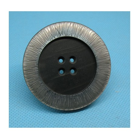Bouton imitation nacre gris strié 52mm