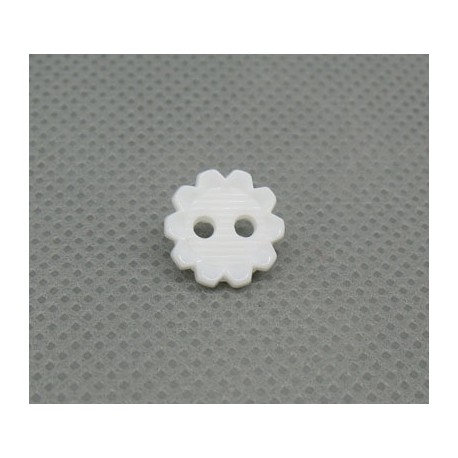 Bouton fleur striée blanche 10mm