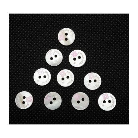 Lot 10 boutons petite fleur rose 9mm