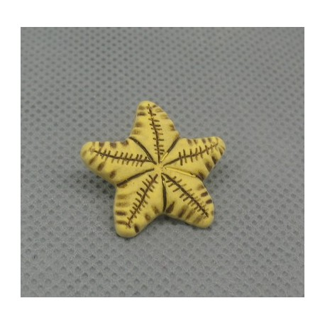 Bouton étoile de mer jaune noire 21mm