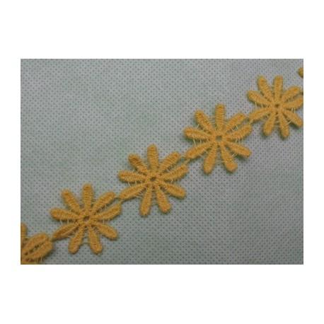 Ruban fleur jaune 25mm