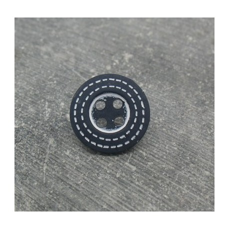 Bouton marine pointillé blanc 15mm