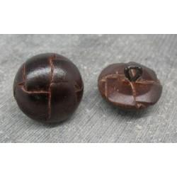 Bouton cuir bombé marron fonçé 23mm