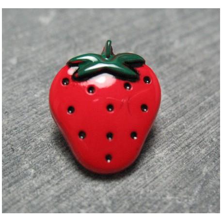 Bouton fraise rouge vert 18 mm b40