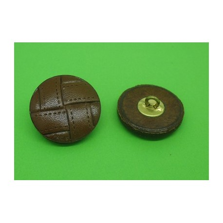 Bouton cuir semi bombé marron fonçé 27mm