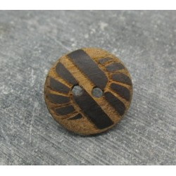 Bouton bois ethnique gravé laser 18mm