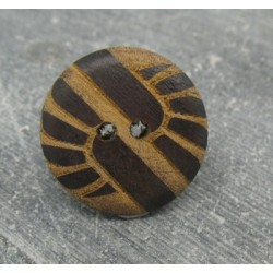 Bouton bois ethnique gravé laser 22mm
