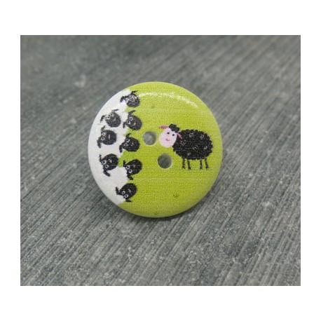 Bouton mouton noir 20mm