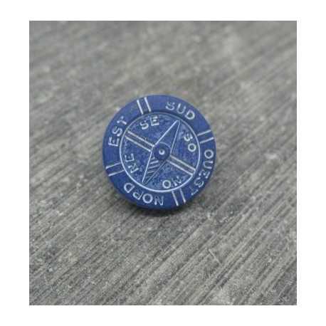 Bouton boussole bleu marine 12mm