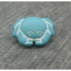 Bouton crabe turquoise 15mm