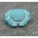 Bouton crabe turquoise 18mm