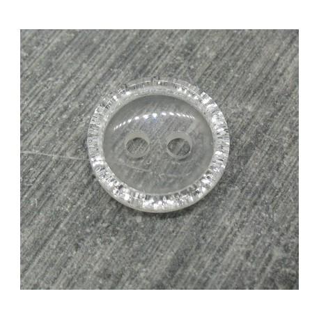 Bouton translucide bord paillette 13mm