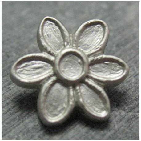 Bouton fleur gris 15 mm b26