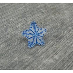 Bouton étoile de mer translucide bleu 12mm