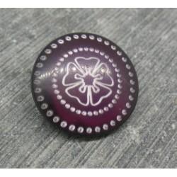 Bouton fleur 5 pétales pointillé prune 18mm