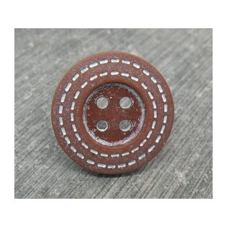 Bouton pointillé marron blanc 22mm