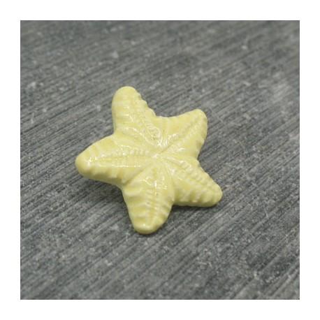 Bouton étoile de mer jaune émaillé verni 18mm