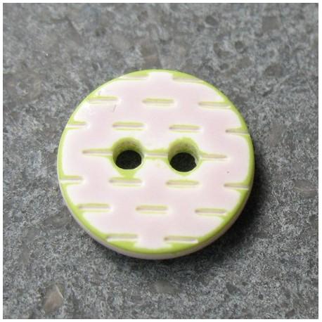 Bouton pointillé parme anis 12 mm b1