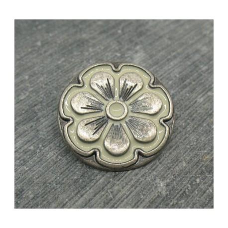 Bouton fleur 7 pétales vieil argent écru 23mm