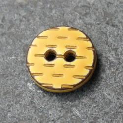 Bouton pointillé jaune brun 12 mm b1