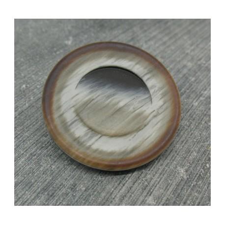 Bouton imitation corne gris beige 34mm