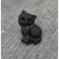 Bouton chat debout noir 17mm