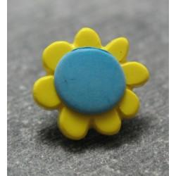 Bouton fleur jaune turquoise 13mm