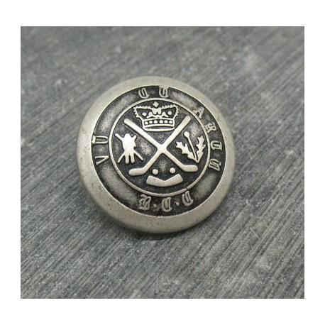 Bouton armoiries royales vieil argent 23mm