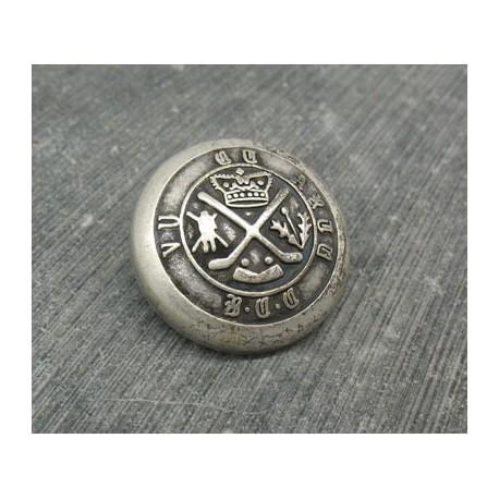 Bouton armoiries royales vieil argent 28mm
