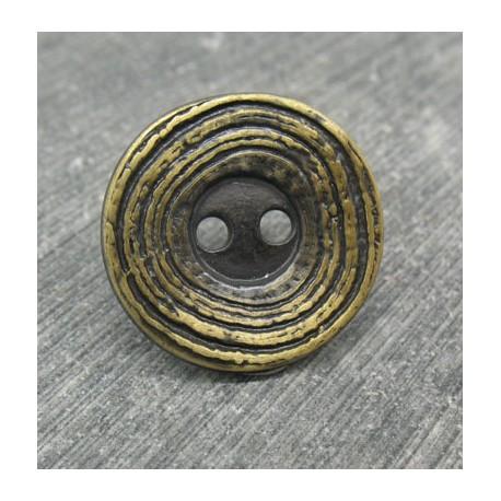 Bouton ondulation vieil or 21mm