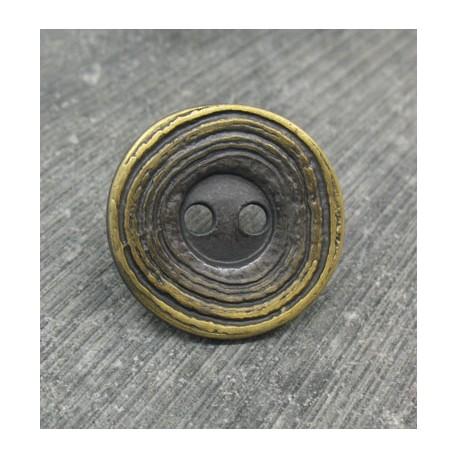 Bouton ondulation vieil or 23mm