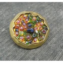 Bouton résine métallisé doré incrustation perle 23mm