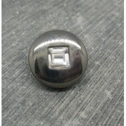 Bouton résine métallisé strass vieil argent 18mm