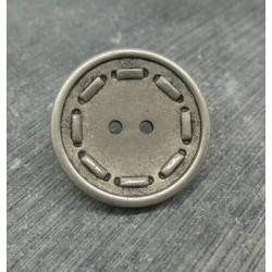 Bouton résine métallisé tiret argent 25mm