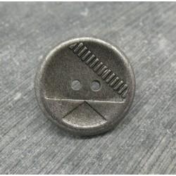 Bouton résine métallisé géométrie vieil argent 22mm