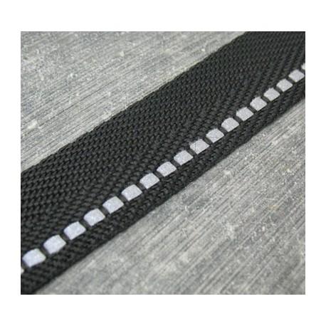 Sangle de sac polyester noir avec bande réfléchissante 20mm