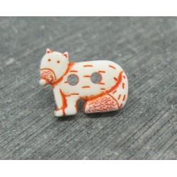 Bouton chien du désert blanc orange 18mm